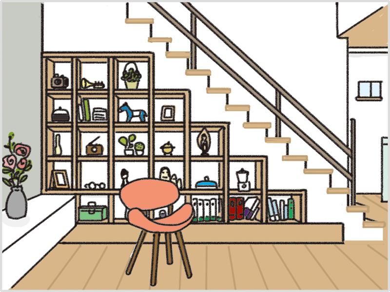オープンな階段下収納のイメージ