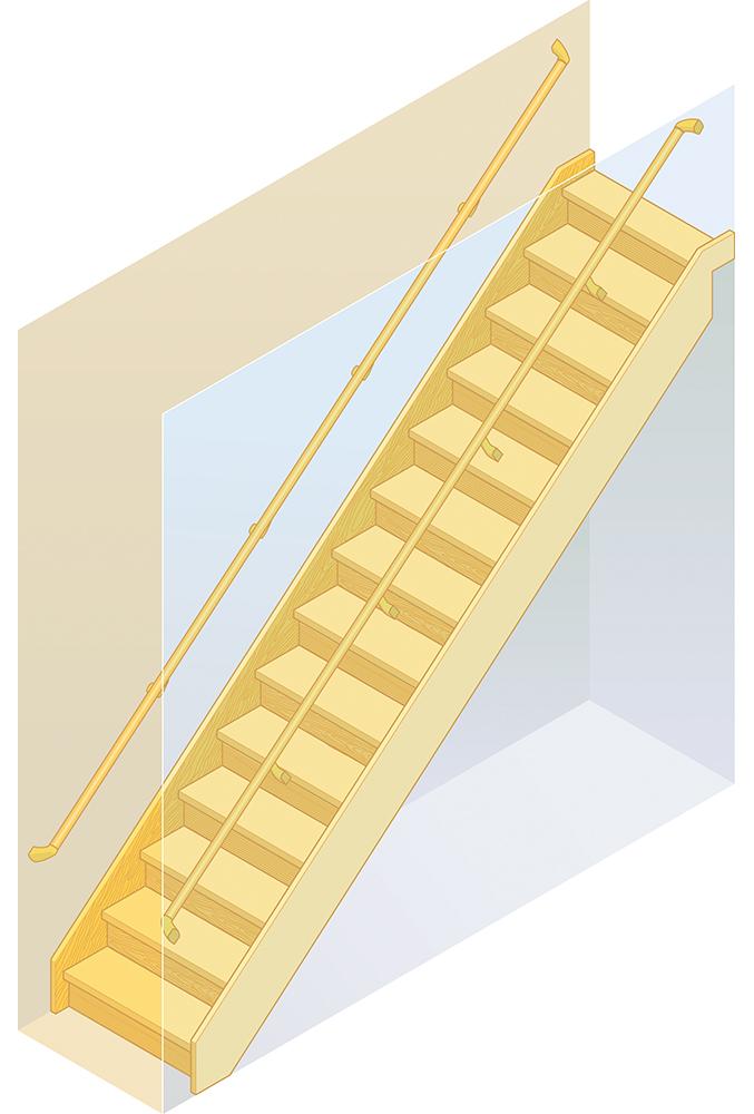 両側に側壁がある箱型直階段