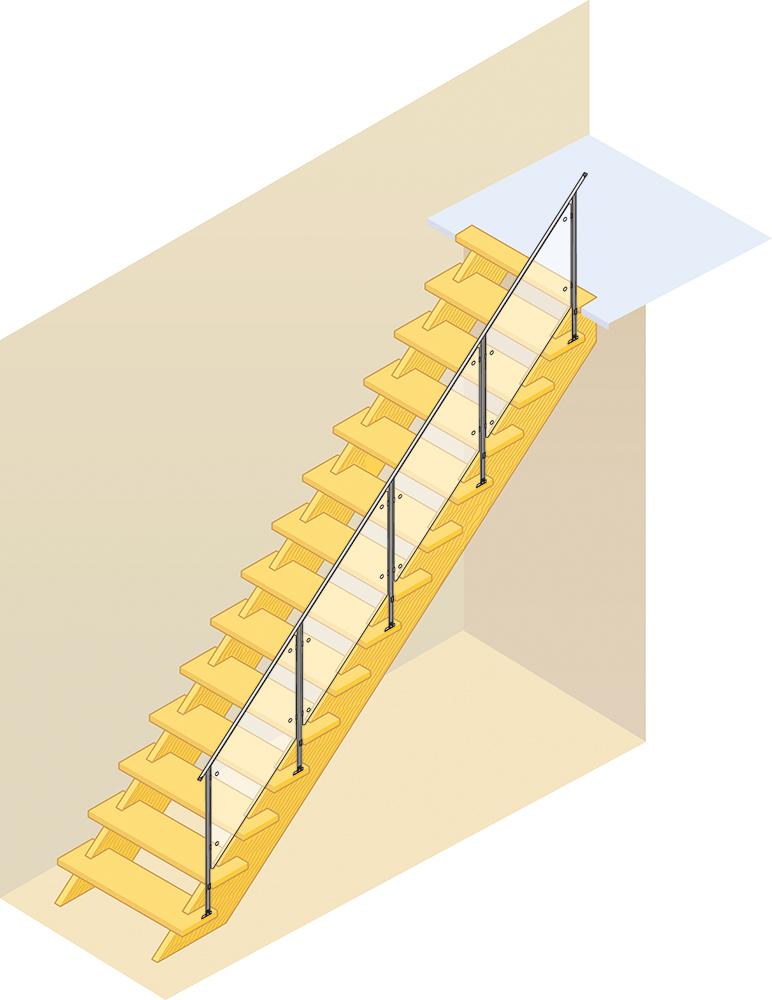 片側に側壁があるオープン階段