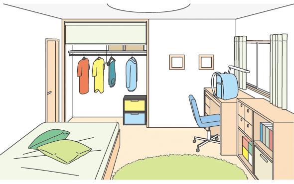 クロゼット扉のかわりにロールスクリーンを設けた子供部屋イメージ