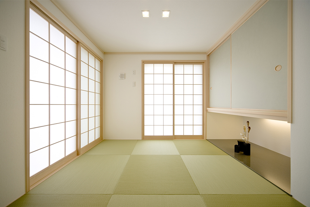 市松模様に敷いた琉球畳