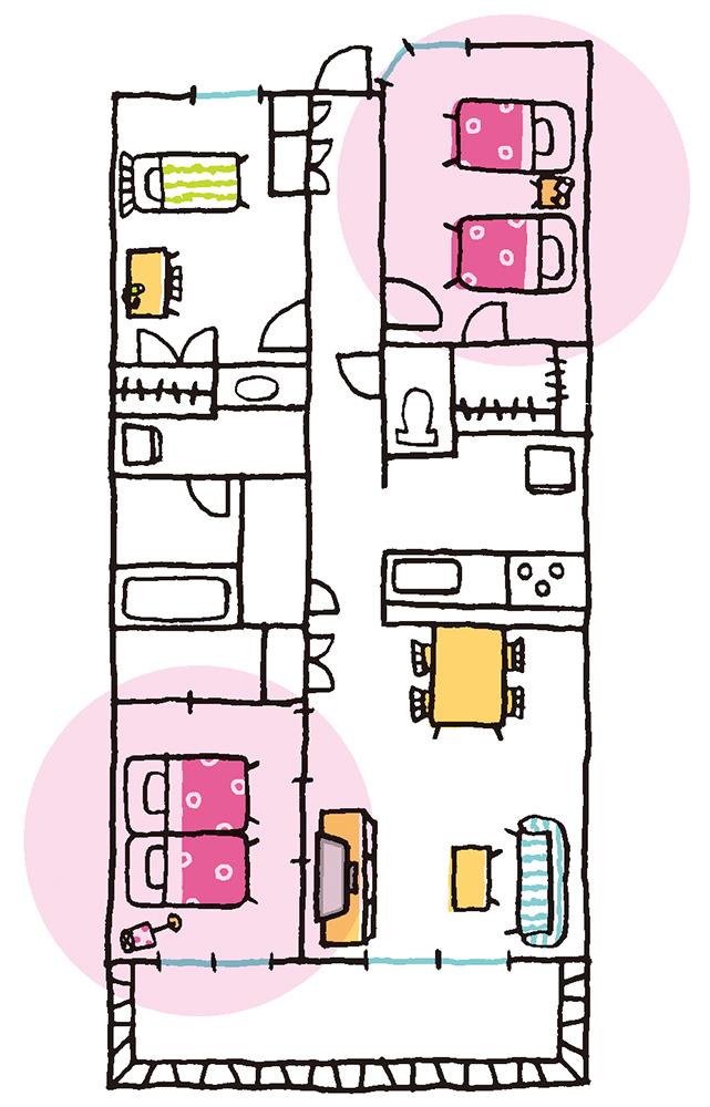 マンションで寝室に選ぶことになる部屋を示したイラスト