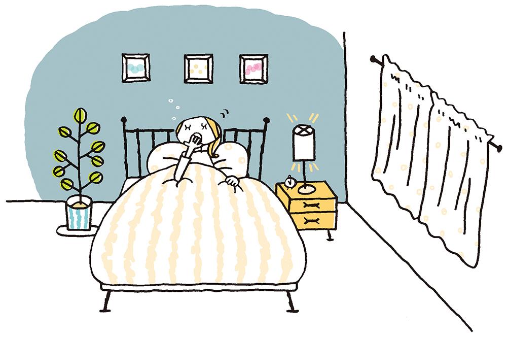 安眠できるよう壁紙の色やベッドの配置、照明などに工夫をした寝室のイラスト