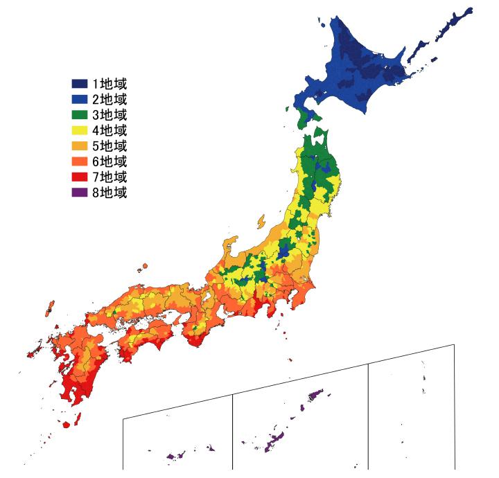 日本の住宅の省エネルギーの地域ごとの基準値