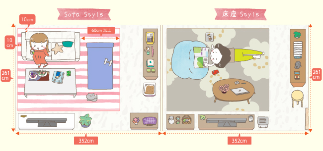 一人暮らしのカーペットの敷き方と家具の配置例