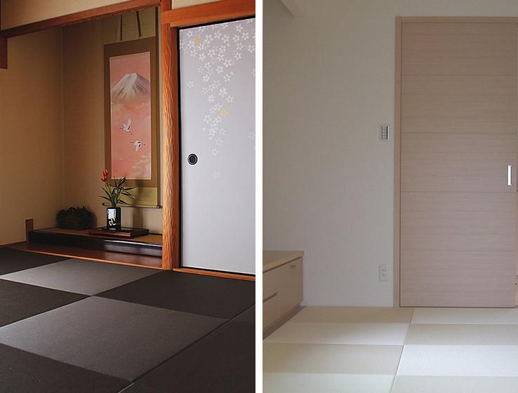 黒い畳の部屋と白い畳の部屋