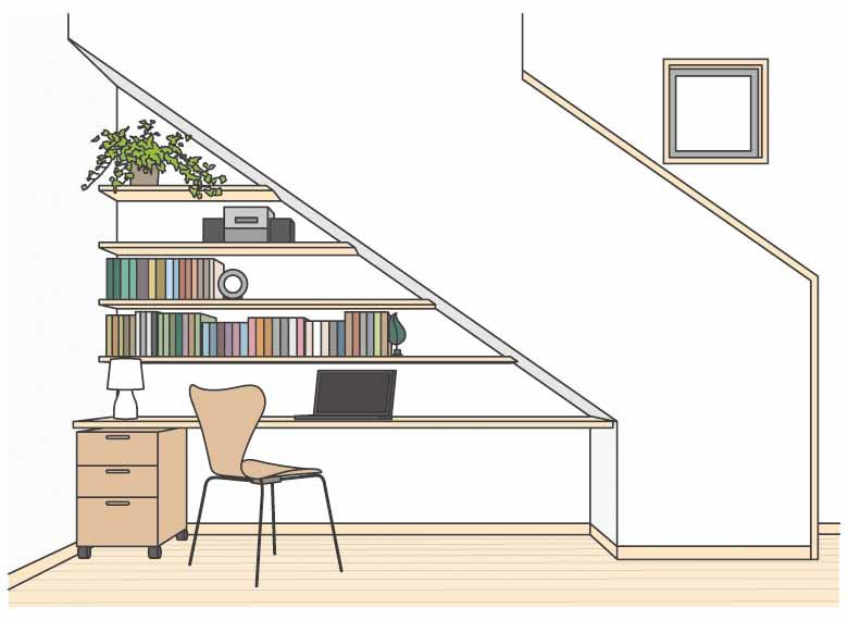 階段下を書斎コーナーにした場合のイメージ