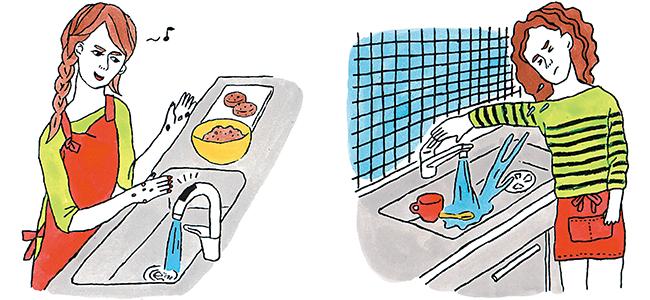 タッチレス水栓は調理中に便利で重宝