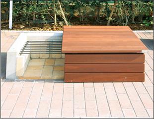 普段はベンチとして利用し、いざというときにはかまどとしても使える「かまどベンチ」。マンションの敷地内に設置するケースが増えている(写真提供/長谷工コーポレーション)
