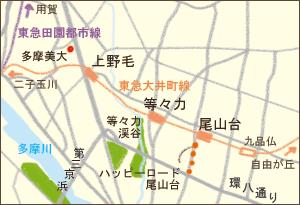 上野毛~尾山台エリア地図