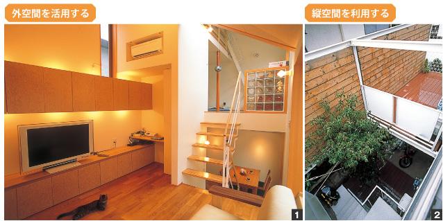 (写真1)外空間を活用する、(写真2)縦空間を活用する