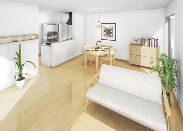 日当たりのいい2階リビング設計。オープンキッチンやダイニングも明るく、心地よく暮らせる