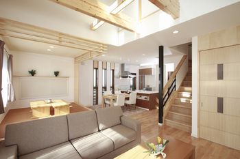 木ころは日本の伝統的な住まいがもつ、シンプルで美しいインテリアをモダンにデザイン。木がもつナチュラルな美しさを活かす床やドア。キッチンなどの木のインテリアと天然の白い壁。さらに、あらわし梁や真壁などの演出を加えることで、癒しのモダンインテリアが実現