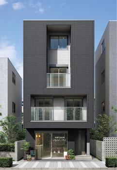 1階は店舗、2階は親世帯、3~4階は子世帯。センス良くデザインされた4階建