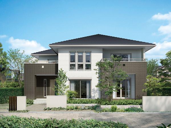 片流れ屋根と陸屋根のコンビネーションや、表情豊かなファサードサッシ、2色に貼り分けた外壁タイルなど、シャープなフォルムを構成するディテールの数々が、個性あふれるスタイリッシュモダンを演出