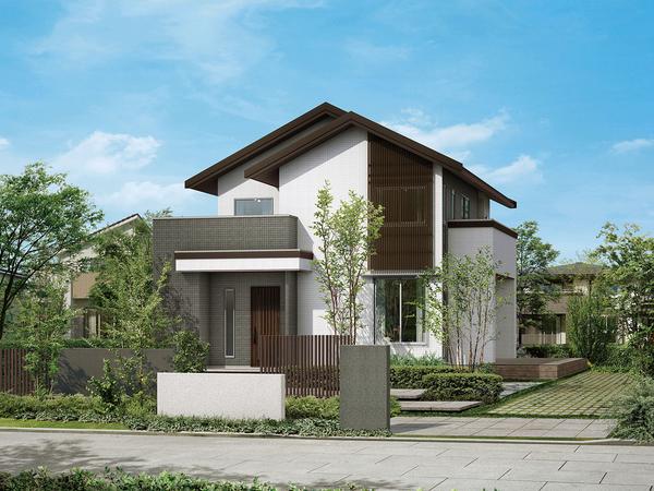 連続する切妻屋根やアクセントとなる木製の格子など、日本の伝統的な佇まいに現代的なエッセンスを採り込んだ、個性あふれる外観デザイン。漆喰を思わせる白とダークトーンのバランスが、新しいジャパニーズスタイルを創出している。