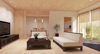 開放的なLDKは天然木を使用したフロアや建具で仕上げた。また、空間の仕切りを曖昧にする美しい縦ラインの格子が和の雰囲気をプラスする