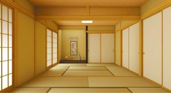 開放感あふれる2間続きの和室。仕切上部に設けた気品漂う欄間は、襖を閉めた状態でも風と光を通す。さらに床の間を設けることで、より格式高い空間を演出している