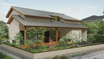 奥行きのある軒下空間と大きな開口のある広縁は、夏の強い日差しを遮りつつ心地よい風を招き入れる。また、冬は暖かな陽光を取り入れ、日本の気候風土に合った、四季を感じられる暮らしができる。さらに、コの字型に囲まれた中庭を設けることで、家族と屋外空間で過ごす時間を共有することができる