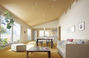 「ベルリード ホームプラス3」の最上階、オーナーリビングスペース。勾配天井のゆとりある空間設計など、開放感に満ちた3階のリビングは窓からの見晴らしもいい。賃料収入が見込めることで、インテリアの意匠や照明、設備や素材などをグレードアップさせることが可能。賃貸併用住宅ならではのメリットだ