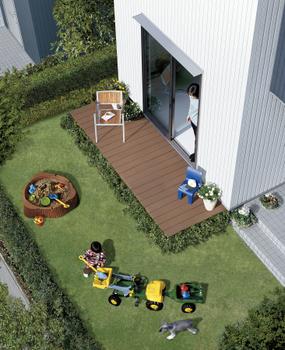 「ベルリード カシーヤ」は、上下階・隣戸の音を気にせず、広々とした庭のある生活が楽しめる。庭は、子どもを安心して遊ばせることができるなど、ニューファミリー層への大きな訴求ポイントになる