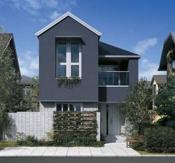 GENIUS「Vikiair」は、雁行プランや軒の出ゼロ設計、オーバーハングなど、都市部の限られた敷地を有効活用するためのさまざまな工夫が採用されている