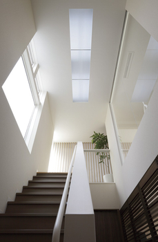 まちの制約のある敷地条件下でも、階段上の壁をガラス壁にするほかトップライトなど光を取り込む工夫で明るい住まいに