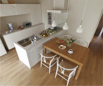 毎日使うキッチンだから使い勝手の良し悪しが大きな差となる。同社はより収納力を高めたキッチンを採用