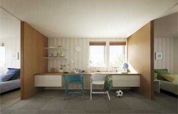 SMART STYLE「B」では成長と共に学び空間も変化するホームコモンズ設計が採用されている。寝学分離も特長の一つであり、子どもの寝室と学び空間を分けて設けることで集中力を育てる