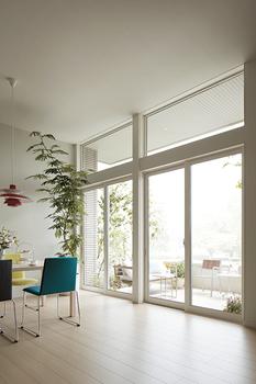 約3mの高天井とハイサッシで空間が縦に広がる。スリットの高窓からも光を取り入れるなど開放感のある空間設計