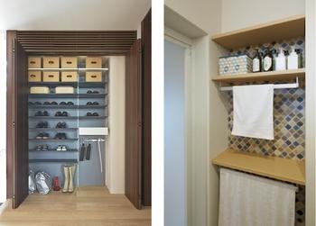 シューズクロゼットや洗面背面収納には、可動棚やハンガーパイプなどのインナーパーツを標準搭載