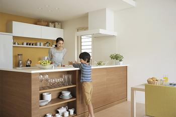 刃物や熱機器を扱うキッチンに入らなくても、安全に子供がお手伝いできるように、リビング側にカウンター収納を設置