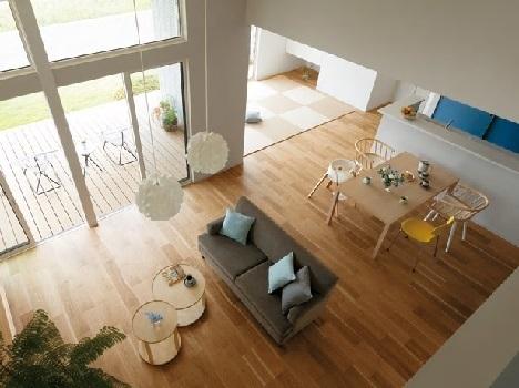 <サークルリンク設計>4つのスペースが一つの円のようにつながる設計。好きな場所で好きなことをしていても、ご家族が身近に感じられて安心。小さなお子さまものびのびと遊ぶことができる