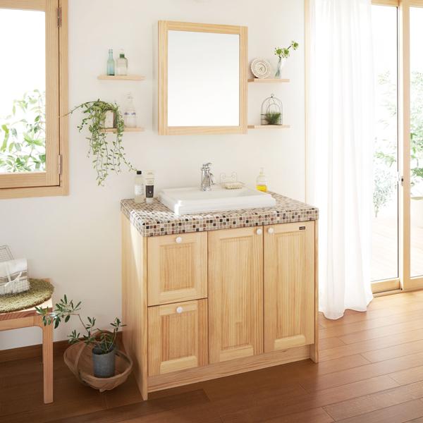 無垢の木の洗面台