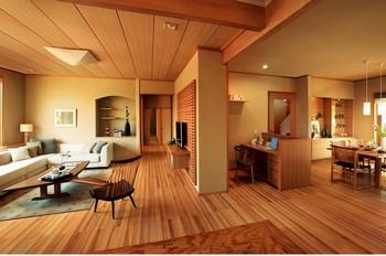 目的はなくとも、いつの間にか家族の集まってくる居心地のよい居間(リビングルーム)。和モダンというカテゴリーには属しきらない、住友林業がもつ木材の知識と意匠(デザイン)力をフルに融合させた空間である。カテゴライズされないからその使い方は、ユーザーの志向にお任せ。家族団らんを楽しみくつろぎ、座ったり腰掛けたり、場合によっては寝転んだりと。各種木材による視覚的効果や、素足で動き回る際の感触など、同社は「居心地」をテーマに木材をセレクトしている