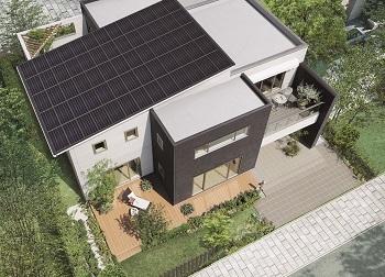 自社グループで製造することで、低価格化と大容量搭載を実現した太陽光発電『夢発電システム』。ブラックフェイスを採用し、屋根一体型としたスマートなデザイン。初期費用0円で搭載できる販売モデルで、2011年グッドデザイン賞を受賞