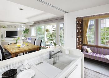オープンキッチンからはLDK、さらに庭までが一望。来客の際には天井からの吊り戸のパーティションでさりげなくお客様の視線を遮ることができる。キッチンの横には、家族の気配を感じながら「私の時間」がつくれる「プチ・リュクス」。趣味に、仕事に、ブレイクタイムにと、使い方はあなた次第。インテリアも「あなたらしく」楽しめる