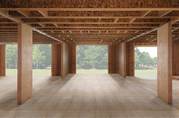 高強度耐力壁「Gウォール」を外周壁の構造材として配置した躯体のイメージ。ワンボックスの大空間は50畳でも100畳でも、思いのままに叶えることができる