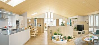 「Gウォール構法」による約55畳の2階大空間に「シザーストラス」を用いることで、縦横へのいっそうの開放感を演出。屋根には高い断熱性能と構造強度を両立させた屋根断熱材「ダブルシールドパネル」が用いられ、快適な温熱環境を実現している