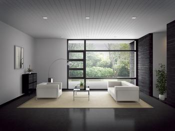 開口上部に下がり壁がないため、天井までの開放的なピクチャーウィンドウを実現することも可能。室内にいながら悠々と広がる美しい庭園の眺めを楽しむことができる