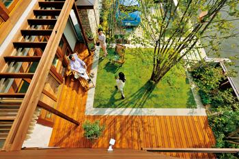 自然の恵みを上手に活かす、パッシブ・エコ設計。夏は南に植えた落葉樹の葉が木陰となり、深い軒とともに直射日光を緩和する。落葉樹の葉が落ちる冬は、太陽の角度も下がり、暖かい陽光がたっぷりと室内に。北側の庭に常緑樹を植えることで、寒い北風も遮断できる。さらに緑の蒸散作用で生じた気流を利用して、春や秋には爽やかな風を室内へ招き入れることも可能。室内は風の入口と出口を考え、水平方向と垂直方向の立体的な風の流れが計画されている