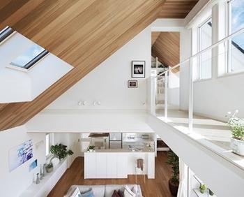 目の前に広がる勾配天井の迫力。空にいるような視界の広がり。シンプルで大胆な空間構成は、これまでにない暮らしを想像させる