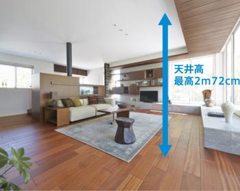 「D-NΣQST」や80mm角の角形鋼管柱、アンカーボルトなど、信頼性の高い部材からなる強靭な構造。構造体の強さを活かし、壁や柱を最小限にしたことで、暮らしにゆとりを生む大空間・大開口を実現。※天井高は2m40cmの仕様を選ぶこともできます。※幅3m45cmの窓を2枚連続で配置可能。ただしプランにより対応できない場合があります。また、中間に柱が入ります