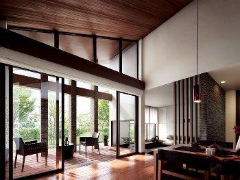 頭上には高く伸びゆく勾配天井。目の前には緑豊かなわが家の庭が広がる。外の心地よさを感じながら、ゆっくりと過ごせる空間。まるで、リゾートのような開放感に満ちあふれた「ロフトテラス」。ここには、いつもゆとりのある穏やかな時間が流れている