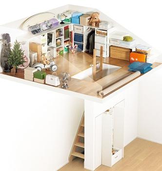 頻繁に出し入れする必要がないものは、小屋裏などのデッドスペースを活用した大型収納にしまおう。ダイワハウスでは、小屋裏を最大限に活かした天井高1.4mのロフトをつくることができる