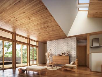 グランリビングの縦へのゆとりをひろげる勾配天井や連窓トップライト。さらに横へのゆとりを生みだす軒下空間と大開口のランマサッシ。自然光にあふれ、明るく開放的な住み心地は、グランリビングをさらに自由な大空間に。そのひろがりは、暮らす人の創造力を豊かにする
