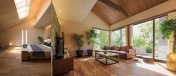 2m72cmの天井高に加え、勾配天井が生む縦へのひろがりは平屋の魅力のひとつ。トップライトを通る柔らかな自然光は、部屋を奥まで明るく照らし、高い天井がやすらぎを与えてくれる。また、小屋裏を収納空間として使うことで、リビングをすっきり保つこともできる