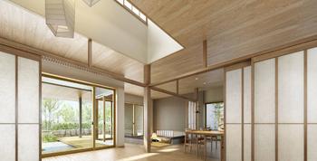 """ここは、木や和紙の質感が際立つ趣深い空間。見上げれば、高く伸びゆく開放感に包まれ、目の前には、外のようであり、内のようでもある""""窓辺の縁""""が心地よく広がる。天井高2m72cmのかつてない大空間を木・紙・土といった和の素材でしつらえた「和のグランリビング」。空間を愉しむ「和暮らし」が、この住まいにはある"""