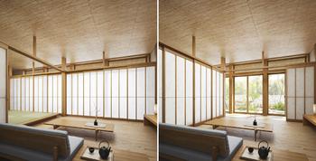 外の光が障子を通して柔らかく広がり、伸びやかな開放感に包まれる。この居心地のいい場所は、来客をもてなす客間となり、あるときは、家族で広々と寛ぐ続き間となる。場面に応じて、天井高2m72cmの大空間を日本家屋伝統の障子で巧みに仕切る「和のグランリビング」。人とつながる「和暮らし」が、この住まいにはある