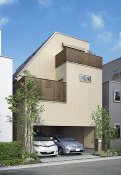 カットルーフが印象的な外観。1階は2台並列駐車も余裕のインナーガレージ。2階は、リビングルームやキッチンなど家族が集まるスペースに。限られた敷地を有効活用し、広びろと気持ちよく住むための知恵がここに結集している